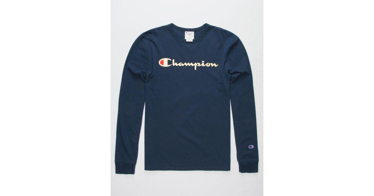 5b6577ee43e0 Champion Script Foil Navy Mens T-shirt in Blue for Men - Lyst