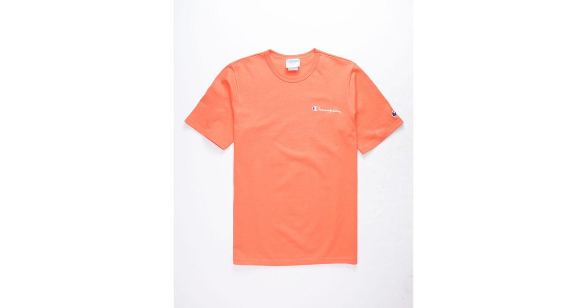 5b716c79 Lyst - Champion Embroidered Script Logo Groovy Papaya Mens T-shirt in  Orange for Men