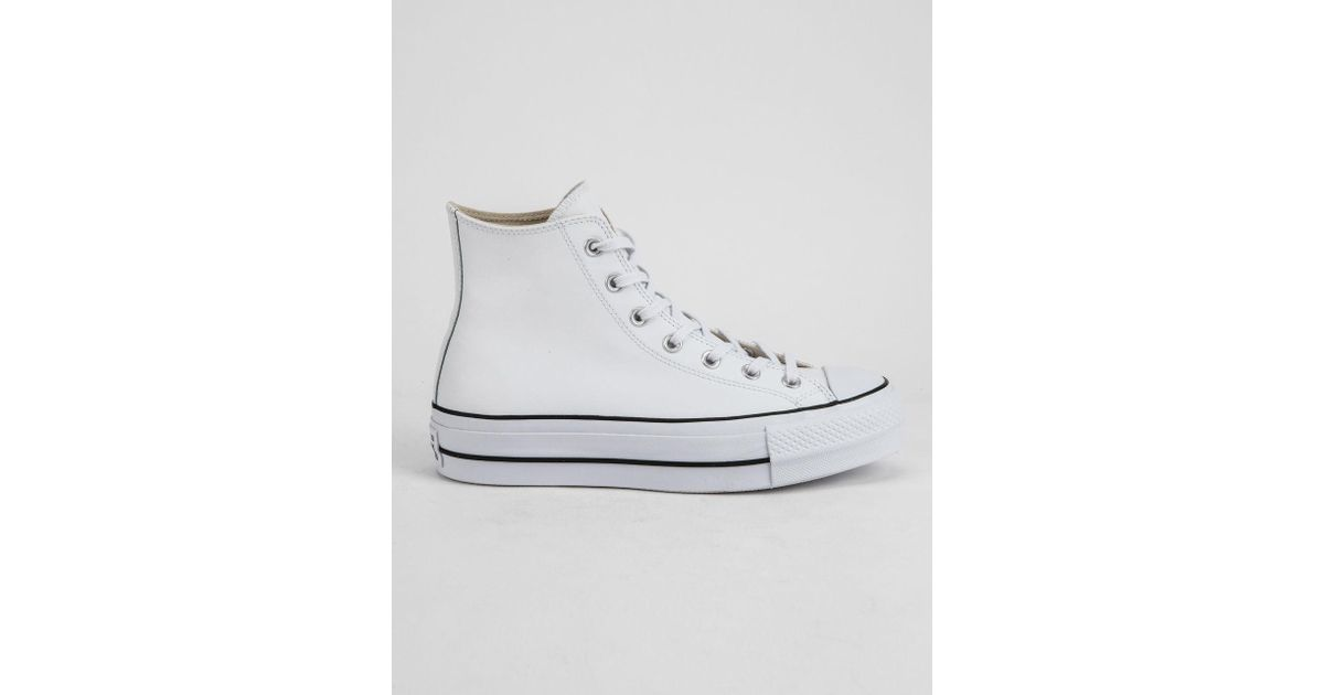 d4c499987 Converse Chuck Taylor All Star Lift Faux Leather White Womens High Top Shoes  in White - Lyst