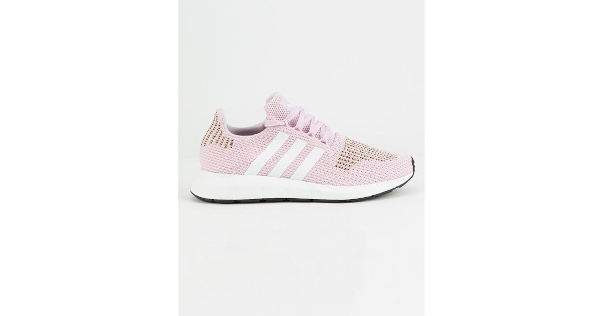 san francisco 2d6fa 5d2ab adidas Women s Swift Run Knit Lace Up Sneakers in Pink - Lyst