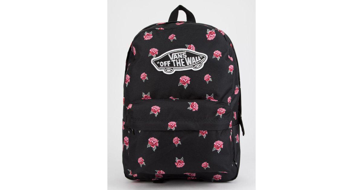 4facb59742c08 Vans Realm Black   Rose Backpack in Black - Lyst