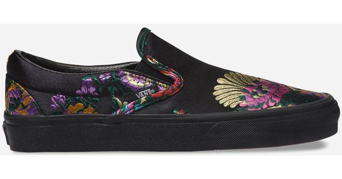 a844c74bfb63 Lyst - Vans Festival Satin Slip-on Black Womens Shoes in Black