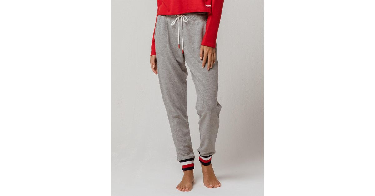 c420d34c5755 Lyst - Tommy Hilfiger Logo Jogger Sweatpant Lounge Pant Bottom Pajama Pj in  Gray - Save 25%