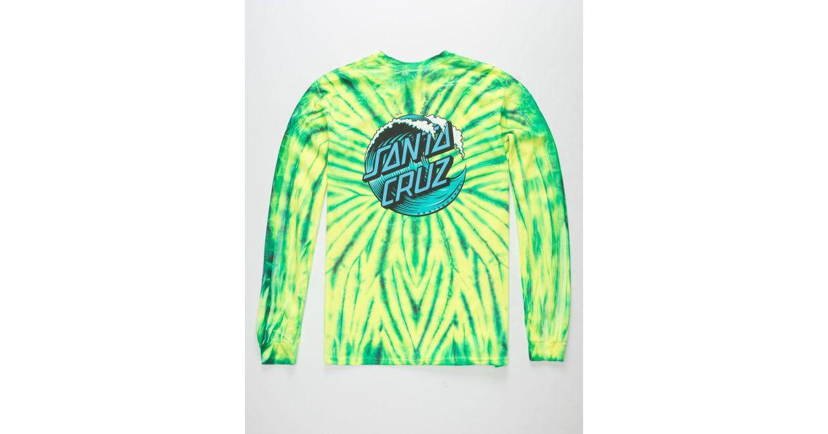 Lyst Santa Cruz Wave Dot Tie Dye Green Combo Mens T Shirt In Green