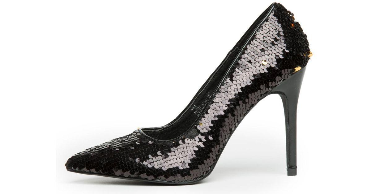 f1d35c02d82b Lyst - Cape Robbin Kitana-45 Black Sequence High Heel in Black