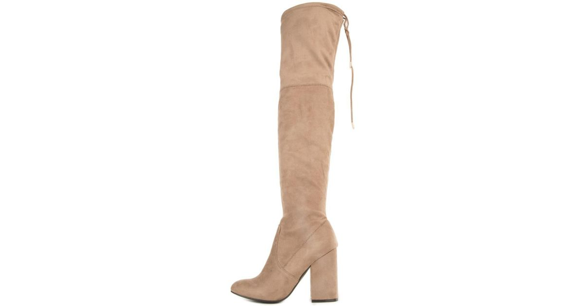 bab453bbda49 Steve Madden Norri Taupe Thigh High Heeled Boots in Brown - Lyst