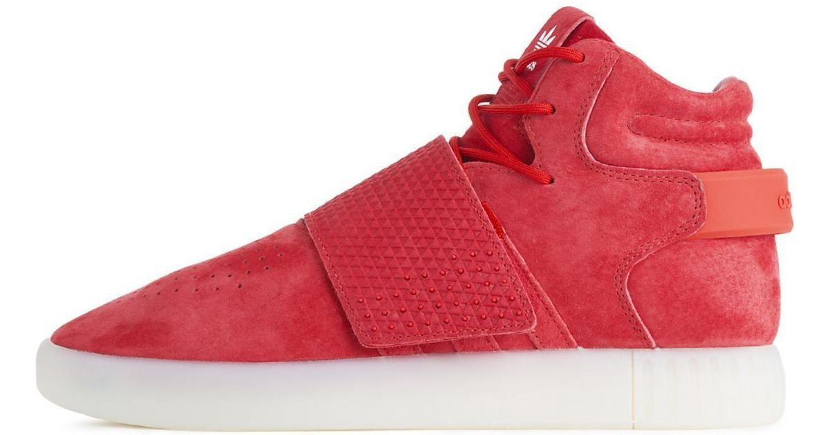 51aaca7be55219 Lyst - Adidas Tubular Invader Strap Casual Lace-up Shoe in Red for Men