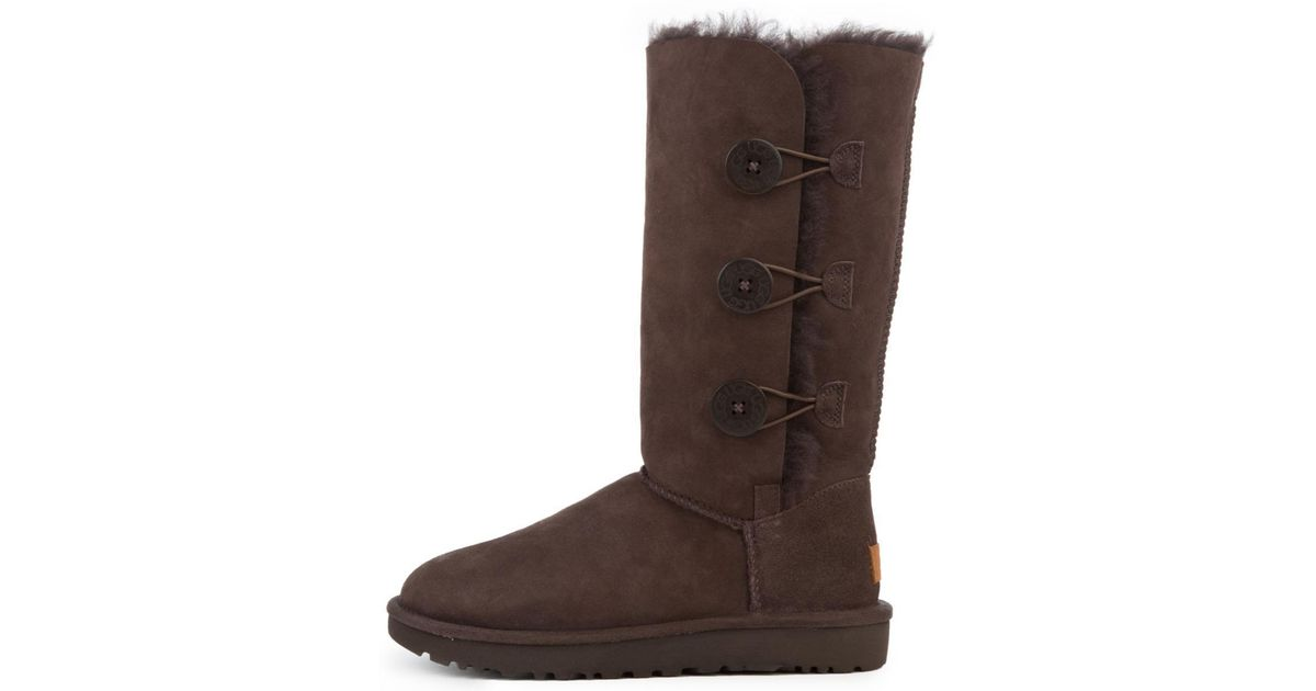 lyst ugg bailey button triplet ii chocolate boots in brown rh lyst com