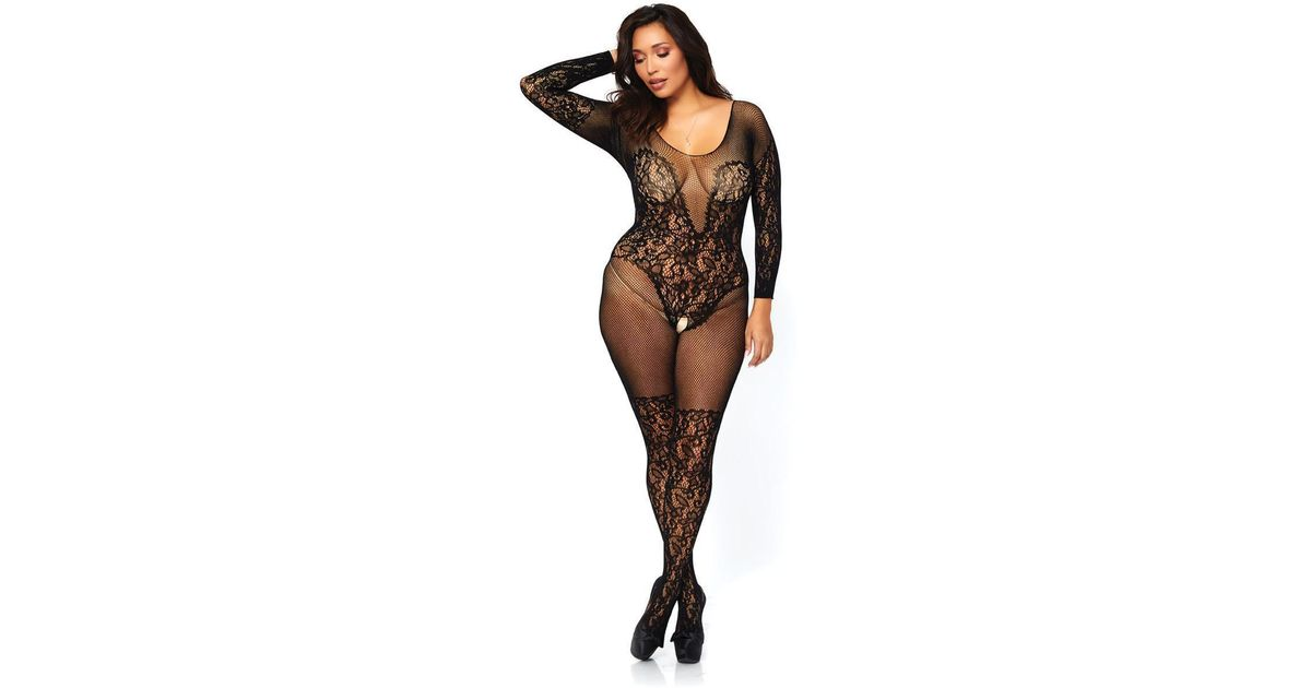9ba56ac105 Lyst - Leg Avenue Vine Lace And Net Long Sleeved in Black