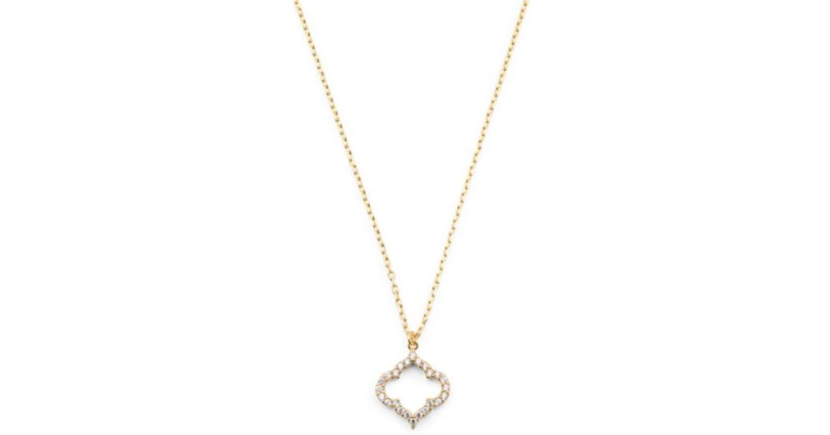 4af5f4884 Lyst - Tj Maxx Made In Usa 14k Gold Plated Vermeil Cz Royal Clover Necklace  in Metallic
