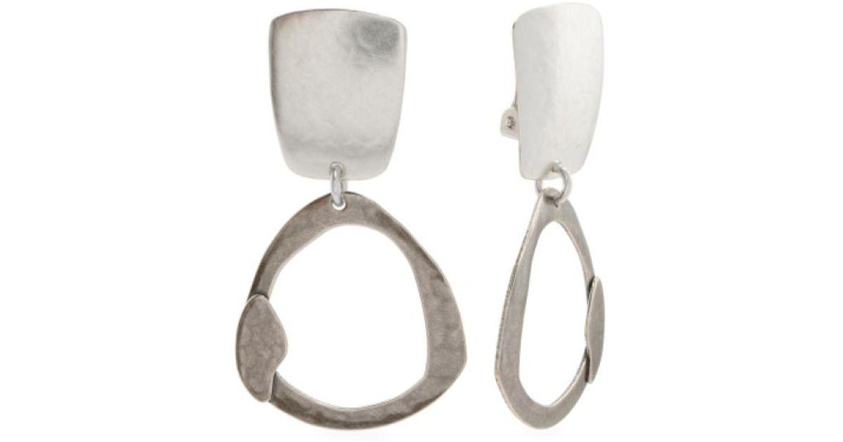 Lyst Tj Ma Handmade In Usa Two Tone Drop Clip Back Earrings Metallic