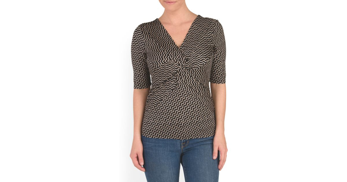 Tj maxx elbow sleeve printed twist top in black lyst for Tj maxx t shirts