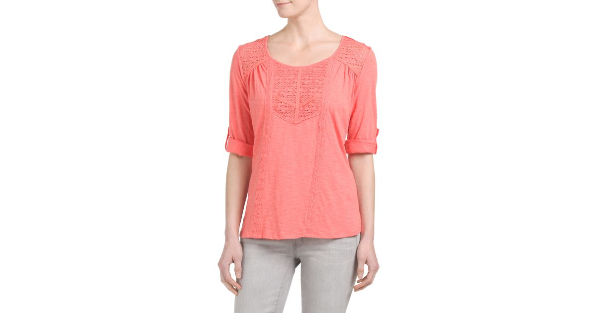 Tj maxx hi lo blouse with lace in pink lyst for Tj maxx t shirts