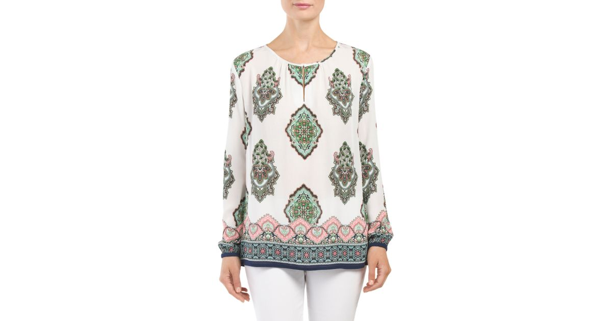 Tj maxx jewel neck blouse lyst for Tj maxx t shirts