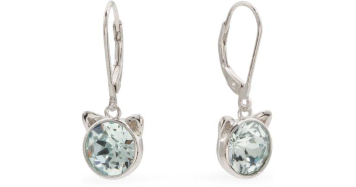 f1f234acf5c1b Tj Maxx - Metallic Sterling Silver Swarovski Crystal Cat Ears Earrings -  Lyst