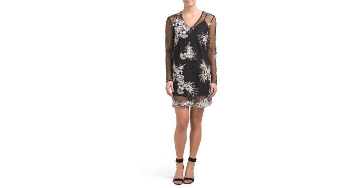 7955605e0b49 Tj Maxx Iola Embroidered Shift Dress in Black - Lyst