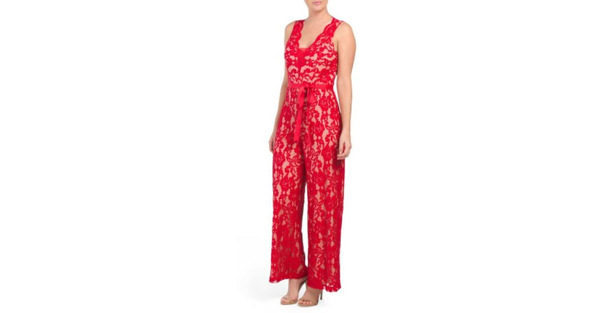 069437c2f447 Lyst - Tj Maxx Petite Stretch Lace Ribbon Belted Jumpsuit in Red