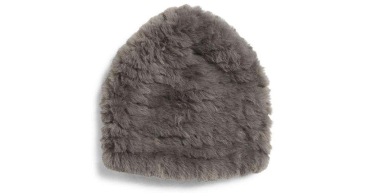 Lyst - Tj Maxx Knitted Faux Fur Hat in Gray f49aee9b0c82