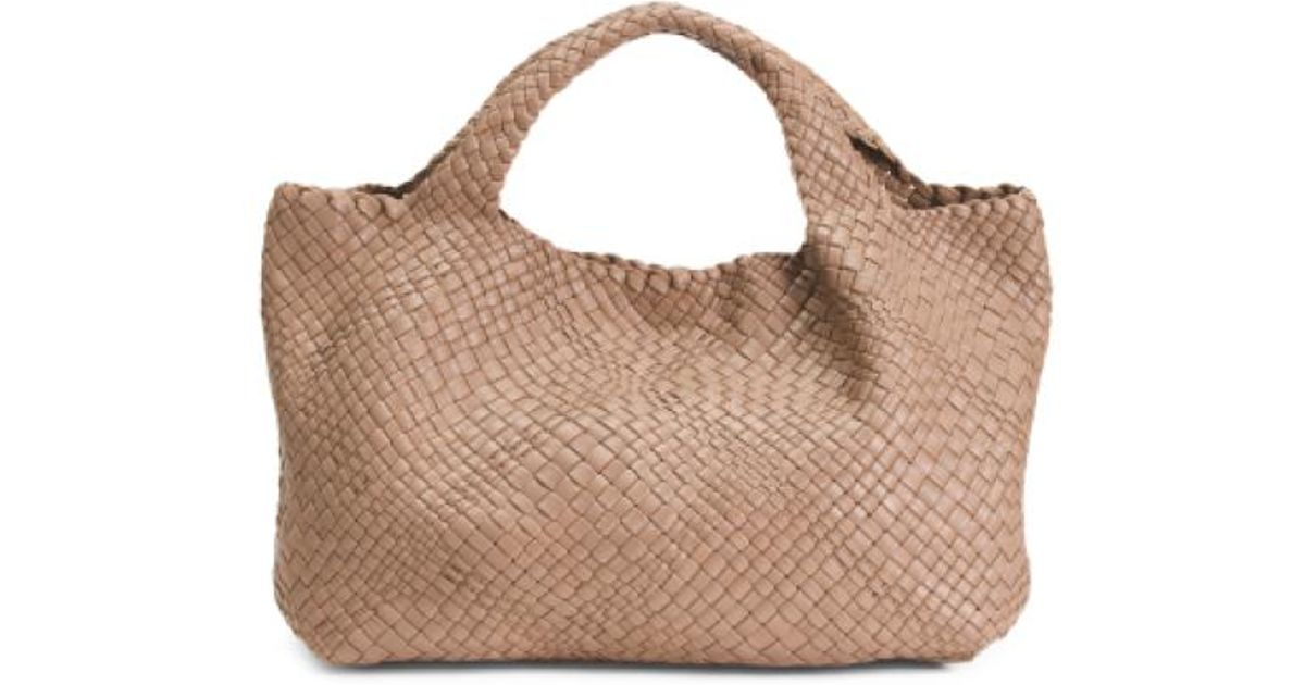 Lyst - Tj Maxx Made In Italy Woven Leather Tote in Brown