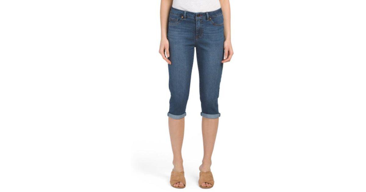 4486a6237fb Lyst - Tj Maxx Petite Rolled Cuff Capri Jeans in Blue