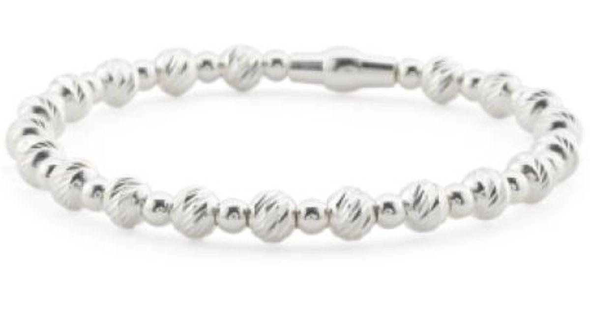 a030a827a10e63 Tj Maxx Made In Italy Sterling Silver Diamond Cut Beaded Bracelet in  Metallic - Lyst