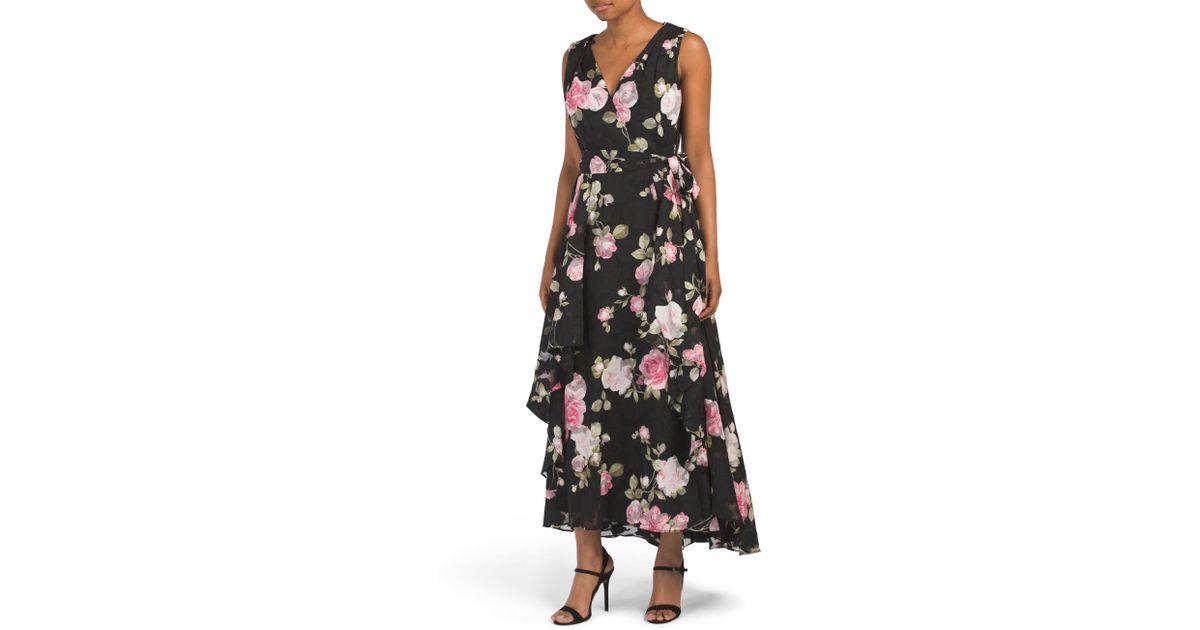 a196cdae144a Tj Maxx Floral Faux Wrap Maxi Dress in Black - Lyst