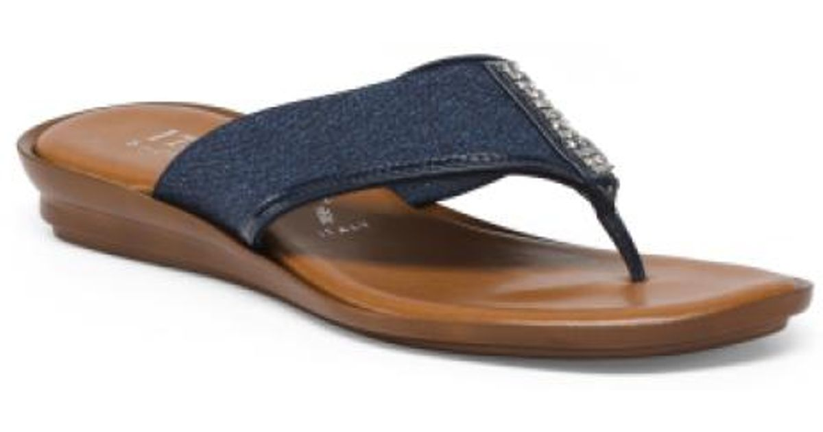 af60401d715 Lyst - Tj Maxx Made In Italy Stretch Thong Sandals in Blue