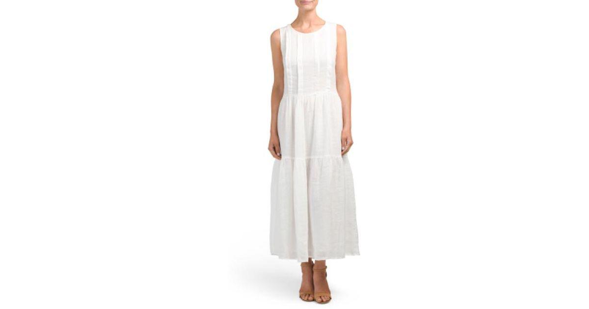 e25b2a293d52 Lyst - Tj Maxx Keyhole Linen Dress in White