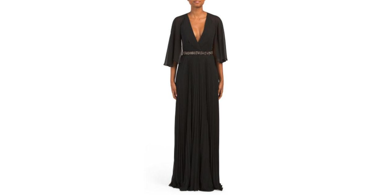 ae5889e43ab3 Lyst - Tj Maxx Cape Gown With Beaded Waist in Black