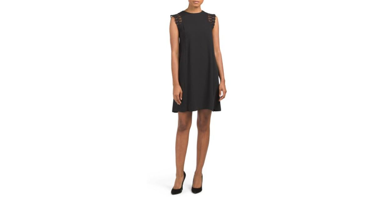 b2a5490b Lyst - Tj Maxx Mesh Inset Crepe Sheath Dress in Black