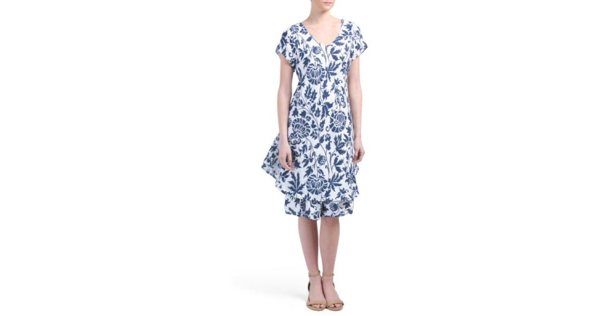 f2ed080c5bc Lyst - Tj Maxx Made In Italy Printed Linen Dress in Blue