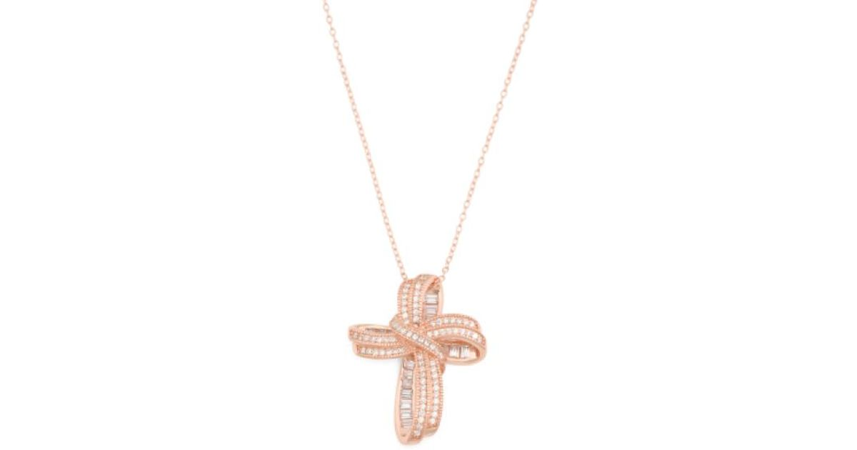 Lyst tj maxx rose gold plated sterling silver cubic zirconia cross lyst tj maxx rose gold plated sterling silver cubic zirconia cross necklace in metallic aloadofball Image collections