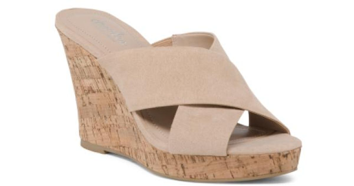 da775363e1 Lyst - Tj Maxx Cross Strap Wedge Slide Sandals in Natural