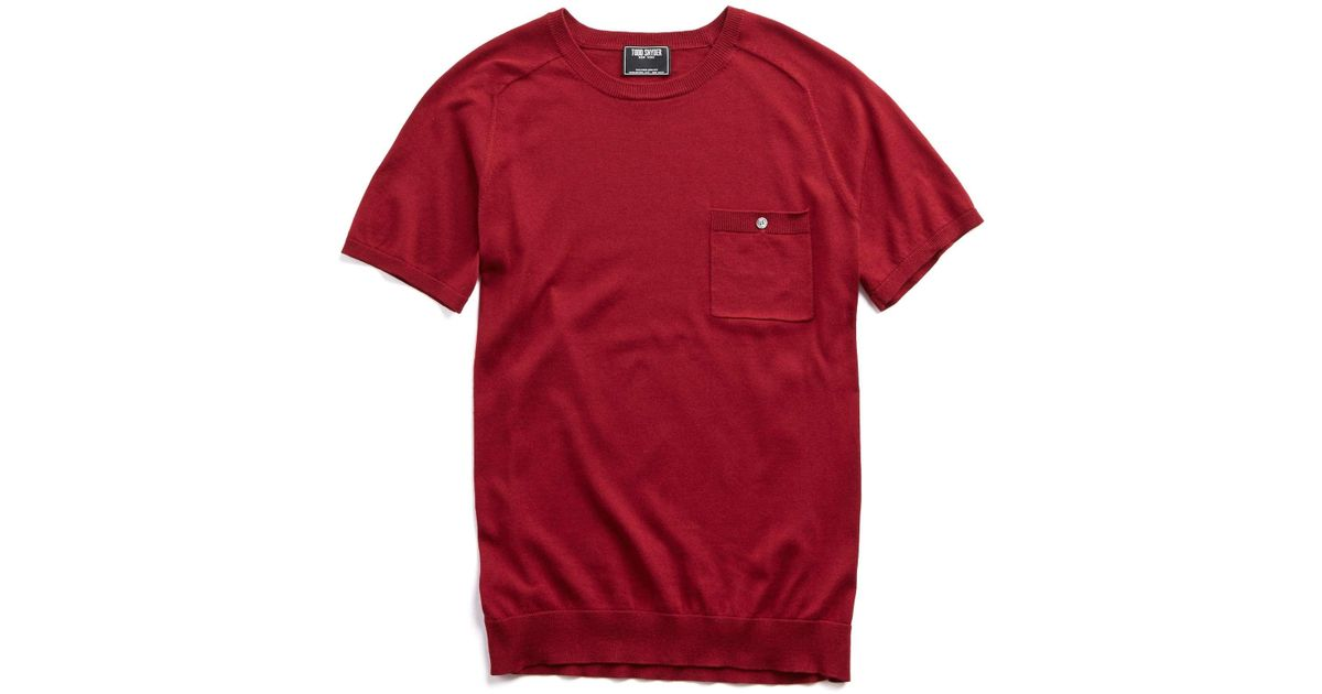Todd Snyder Italian Cotton Silk T Shirt Jumper In Maroon