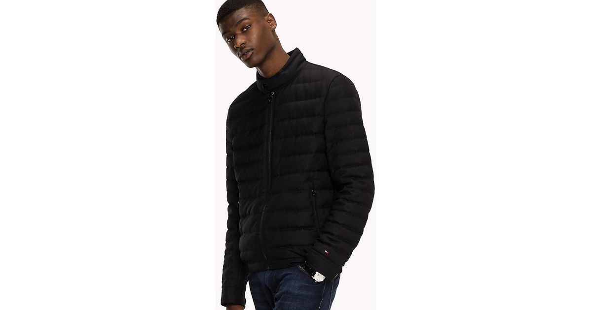 6e149cdb Tommy Hilfiger Wool Blend Down Bomber in Black for Men - Lyst