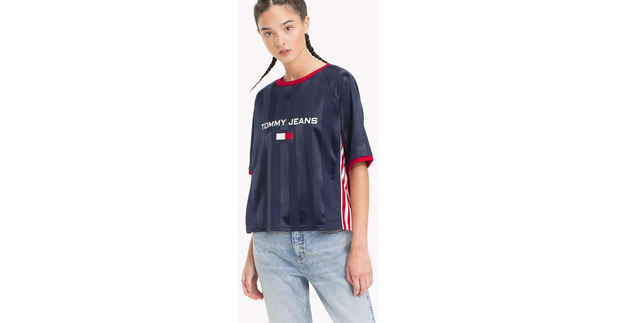 e8800e213cac Tommy Hilfiger 90s Football Crop T-shirt in Blue - Lyst