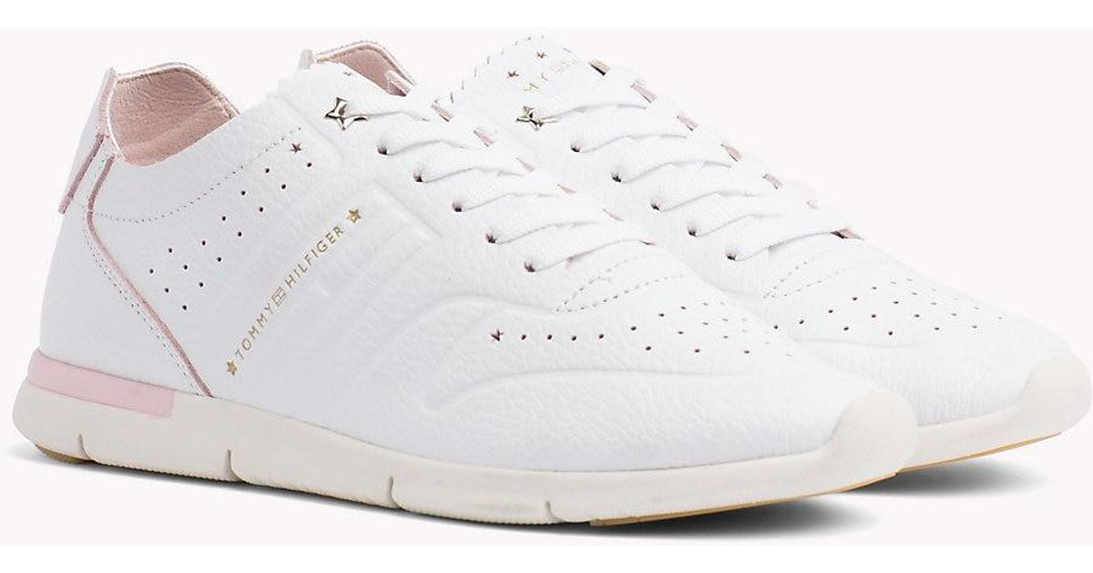 db9117d627d763 Tommy Hilfiger Lightweight Leather Scalloped Tongue Trainers in White - Lyst