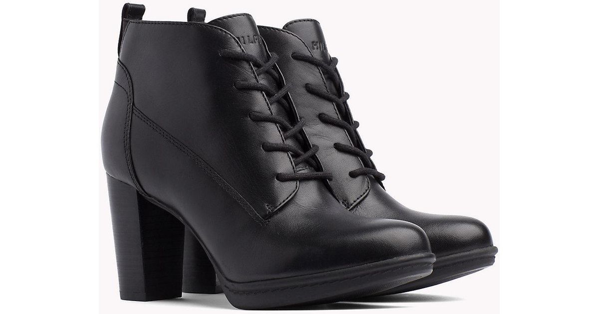 059f231a4e5af2 Tommy Hilfiger High Heel Lace-up Boots in Black - Lyst