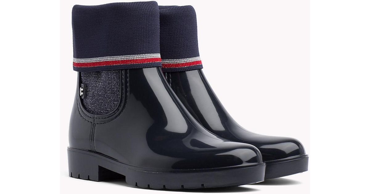 d1f35868399 Tommy Hilfiger Knitted Sock Rain Boots in Blue - Lyst