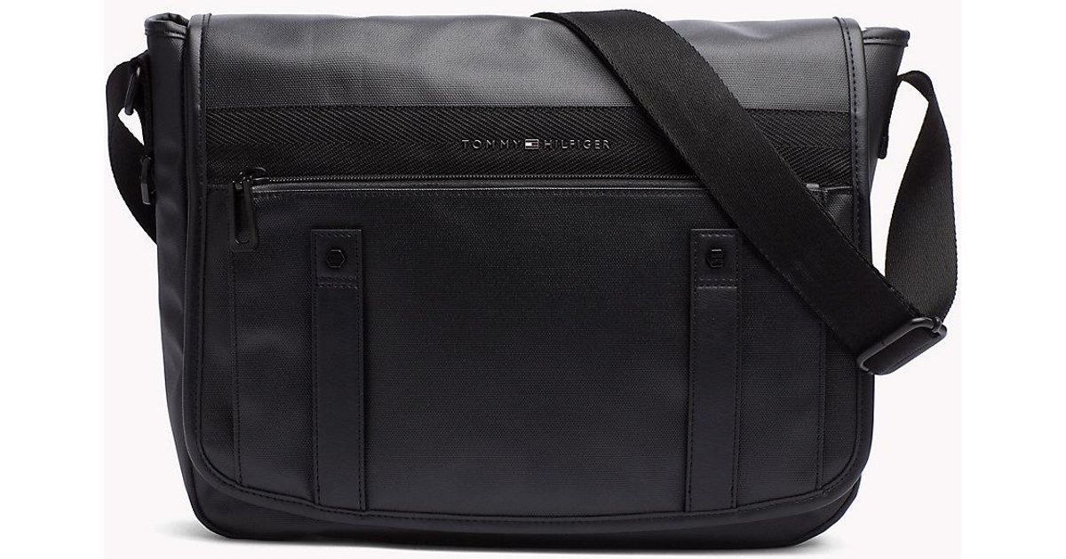 252e25199d Tommy Hilfiger Waxed Nylon Messenger Bag in Black for Men - Lyst