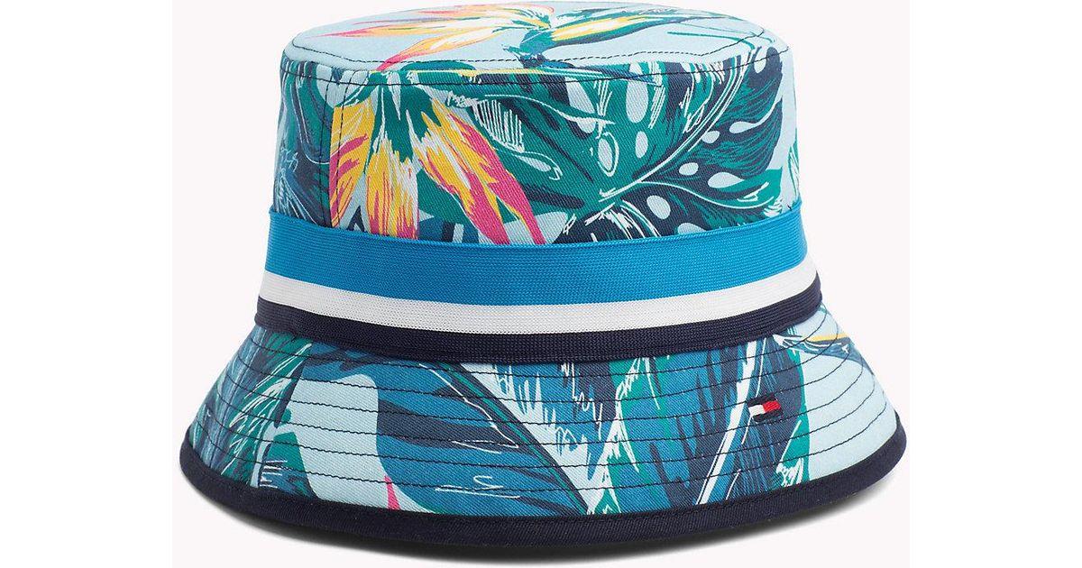 Tommy Hilfiger Tropical Print Bucket Hat in Blue - Lyst 2d1aa5de27f