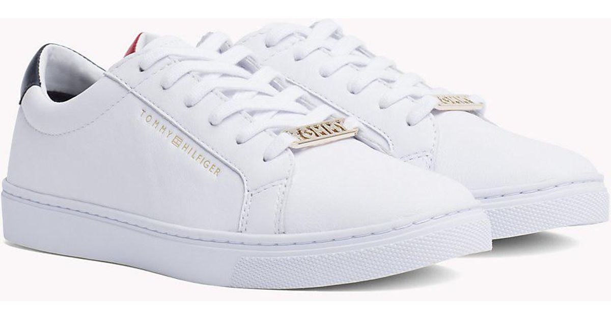 7f03a89bb928 Tommy Hilfiger Metallic Back Lace-up Trainers - Lyst