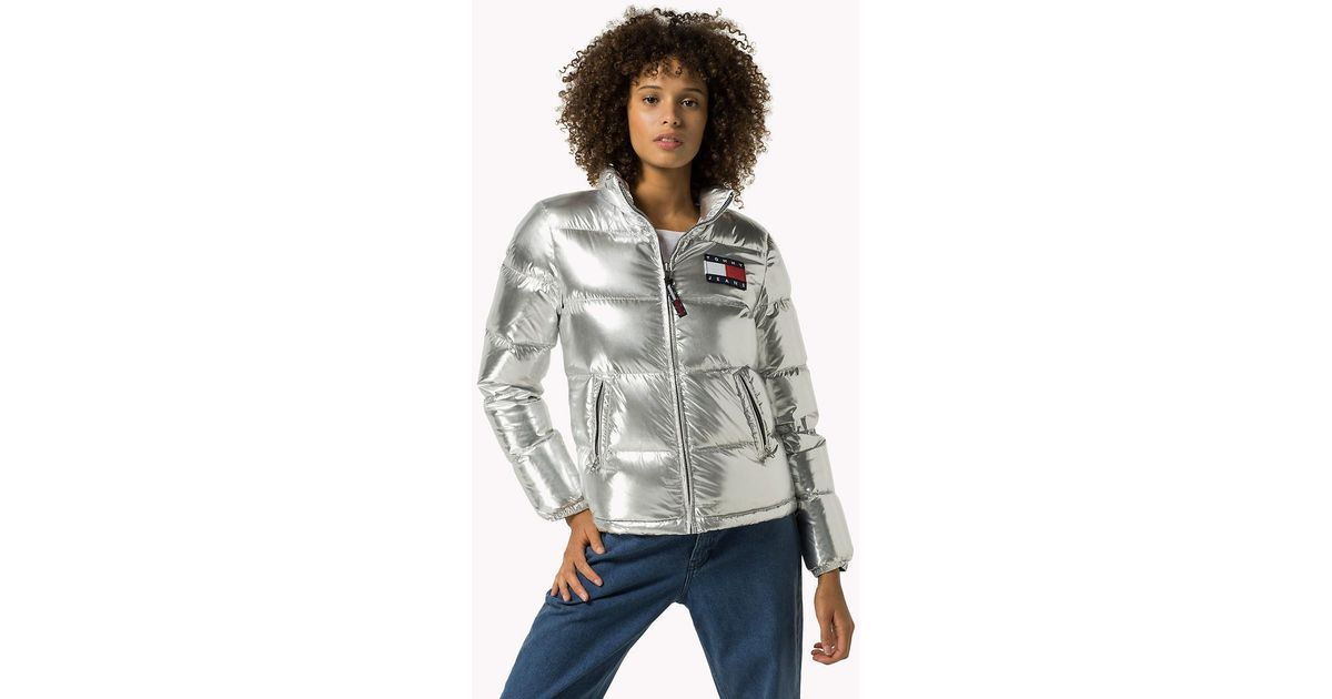 Tommy Hilfiger Silver Down Puffer Jacket In Metallic Lyst
