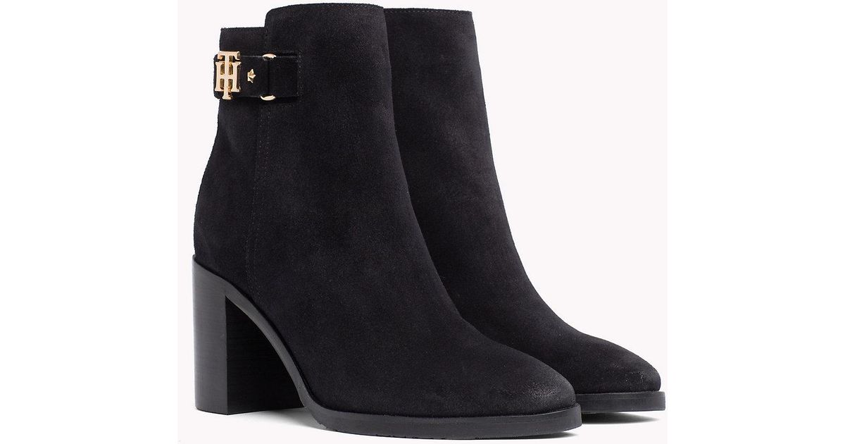d182e844b Tommy Hilfiger Suede Heeled Ankle Boots in Black - Lyst