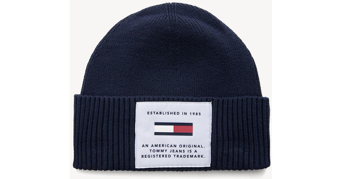 1257ae68deb Tommy Hilfiger Tommy Jeans Cotton Beanie in Blue for Men - Lyst