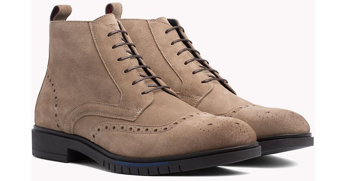 db7e91474 Tommy Hilfiger Flexible Suede Brogue Boots in Brown for Men - Lyst