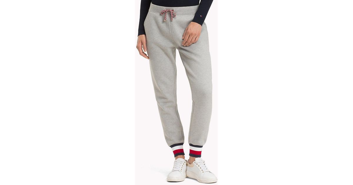 bb553802411 Tommy Hilfiger Signature Tape Joggers in Gray - Lyst