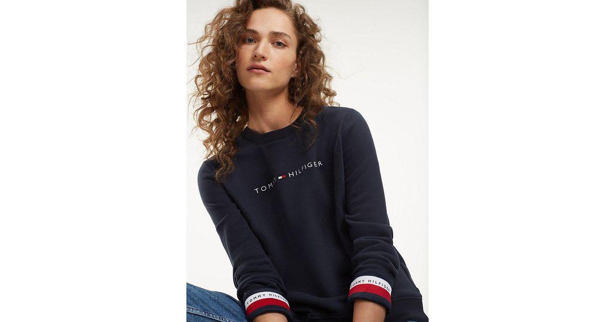 43e90caa1f1234 Tommy Hilfiger Signature Tape Cuff Sweatshirt in Blue - Lyst