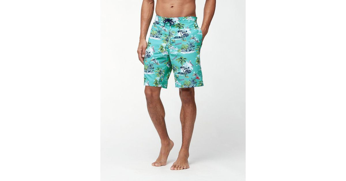 8816cb3f45 Tommy Bahama Baja Destination Florida 9-inch Board Shorts in Green for Men  - Lyst