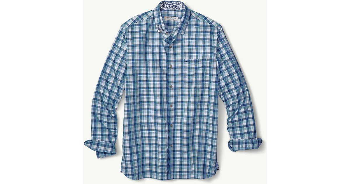 c54e4a28a258 Lyst - Tommy Bahama Atlantic Tides Plaid Long-sleeve Shirt in Blue for Men